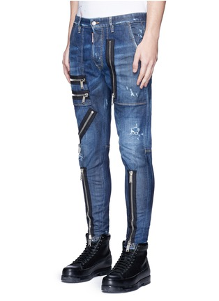 Front View - Click To Enlarge - Dsquared2 - 'Military' zipper denim pants
