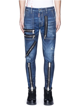 Main View - Click To Enlarge - Dsquared2 - 'Military' zipper denim pants