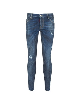 Main View - Click To Enlarge - Dsquared2 - 'Sexy Twist' rip and repair slim fit jeans