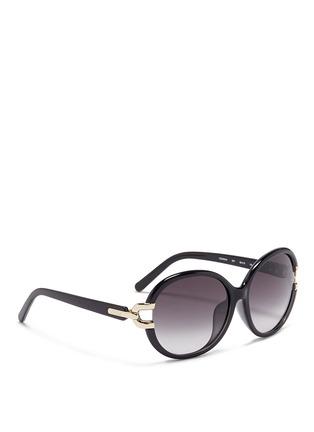 模特儿示范图 - 点击放大 - CHLOÉ - 金属装饰椭圆框太阳眼镜