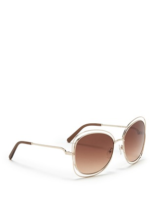 Figure View - Click To Enlarge - Chloé - 'Carlina' overlap wire rim sunglasses