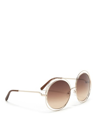 Figure View - Click To Enlarge - 10676 - 'Carlina' overlap wire rim round sunglasses