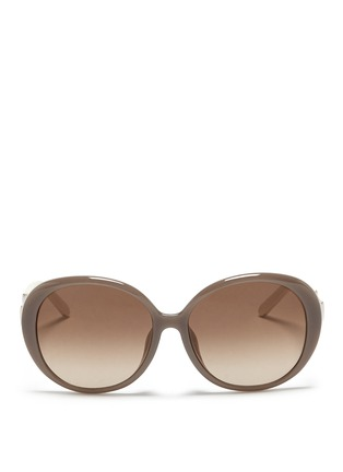 Main View - Click To Enlarge - Chloé - Colourblock temple acetate round sunglasses