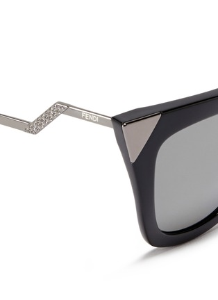 Detail View - Click To Enlarge - Fendi - Crystal pavé angular metal temple acetate sunglasses