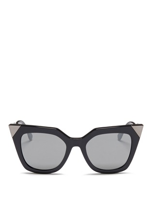 Main View - Click To Enlarge - Fendi - Crystal pavé angular metal temple acetate sunglasses