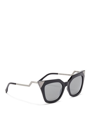 Figure View - Click To Enlarge - Fendi - Crystal pavé angular metal temple acetate sunglasses