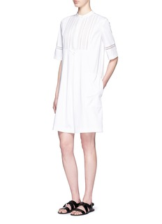 VINCELattice lace bib cotton poplin shift dress