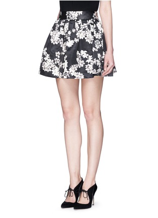 Front View - Click To Enlarge - alice + olivia - 'Fizer' floral print satin flare mini skirt