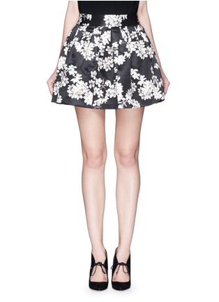 Main View - Click To Enlarge - alice + olivia - 'Fizer' floral print satin flare mini skirt