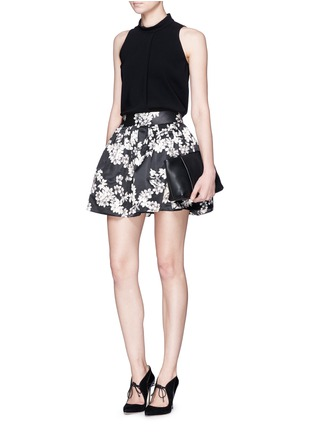 Figure View - Click To Enlarge - alice + olivia - 'Fizer' floral print satin flare mini skirt