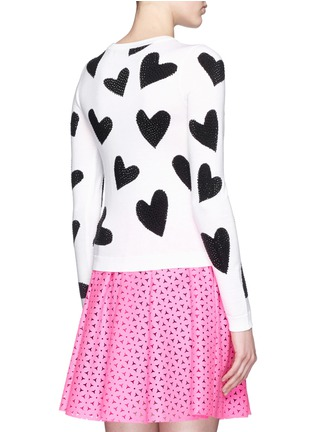 Back View - Click To Enlarge - alice + olivia - 'Carey' rhinestone heart intarsia sweater