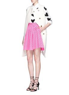 ALICE + OLIVIA'Carey' rhinestone heart intarsia sweater