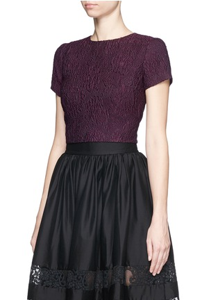Front View - Click To Enlarge - alice + olivia - 'Sarina' embroidered boxy cropped top
