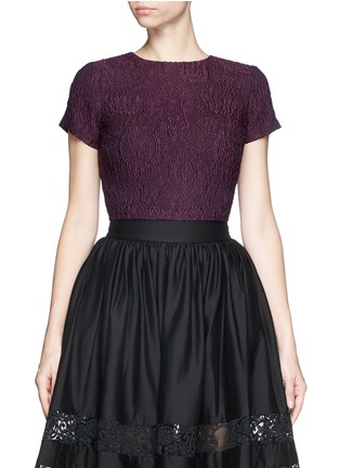 Main View - Click To Enlarge - alice + olivia - 'Sarina' embroidered boxy cropped top