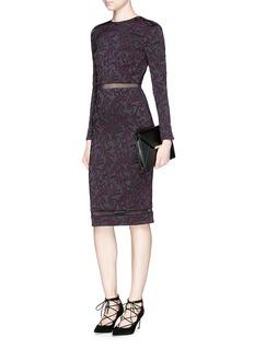 ALICE + OLIVIA'Narin' mesh stripe floral jacquard dress