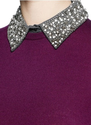 Detail View - Click To Enlarge - alice + olivia - 'Rosalind' strass bead collar wool sweater