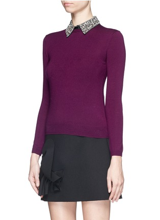 Front View - Click To Enlarge - alice + olivia - 'Rosalind' strass bead collar wool sweater