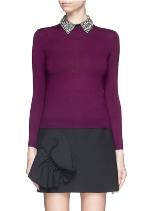 Main View - Click To Enlarge - alice + olivia - 'Rosalind' strass bead collar wool sweater