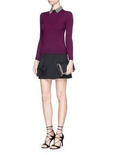 ALICE + OLIVIA'Rosalind' strass bead collar wool sweater
