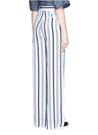 Back View - Click To Enlarge - MSGM - Multi stripe silk wide leg pants