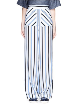Main View - Click To Enlarge - MSGM - Multi stripe silk wide leg pants