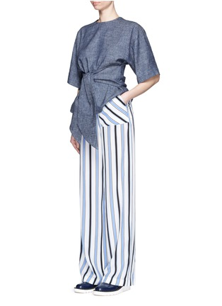 Figure View - Click To Enlarge - MSGM - Multi stripe silk wide leg pants