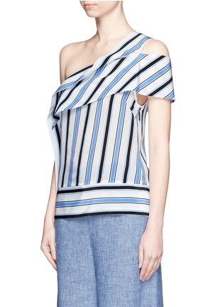 MSGM-Asymmetric sash stripe silk one-shoulder top