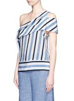 Asymmetric sash stripe silk one-shoulder top