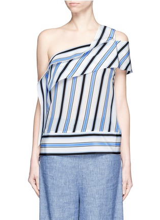 Main View - Click To Enlarge - MSGM - Asymmetric sash stripe silk one-shoulder top
