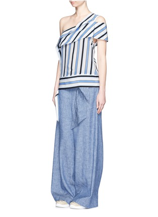Figure View - Click To Enlarge - MSGM - Asymmetric sash stripe silk one-shoulder top