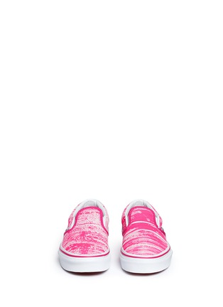 Figure View - Click To Enlarge - Vans - 'Classic' brushed paint stroke print suede kids slip-ons