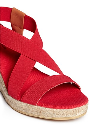 Detail View - Click To Enlarge - SARAH SUMMER - Elastic band espadrille wedge sandals