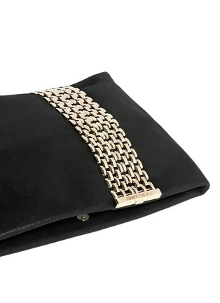 Detail View - Click To Enlarge - Jimmy Choo - 'Chandra' chain clasp glitter suede clutch