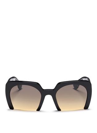 Main View - Click To Enlarge - miu miu - 'Rasoir' Half rim acetate sunglasses