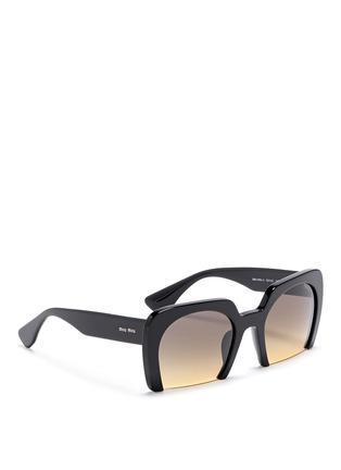 Figure View - Click To Enlarge - miu miu - 'Rasoir' Half rim acetate sunglasses