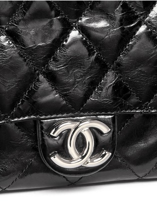 Detail View - Click To Enlarge - Vintage Chanel - Tweed flap quilted leather shoulder bag