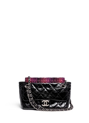 Main View - Click To Enlarge - Vintage Chanel - Tweed flap quilted leather shoulder bag