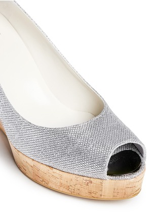 Detail View - Click To Enlarge - Stuart Weitzman - 'Anna' cork wedge glitter lamé sandals