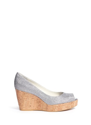 Main View - Click To Enlarge - Stuart Weitzman - 'Anna' cork wedge glitter lamé sandals