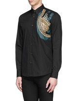 ''Curley' embroidery paint streak stripe shirt