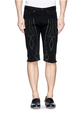 Main View - Click To Enlarge - Dries Van Noten - 'Pender' embroidered denim shorts