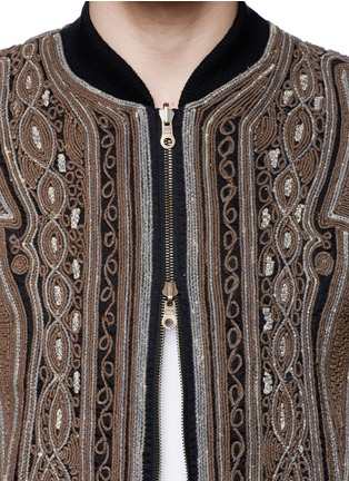 Detail View - Click To Enlarge - Dries Van Noten - 'Vinny' rope embroidery cotton bomber jacket