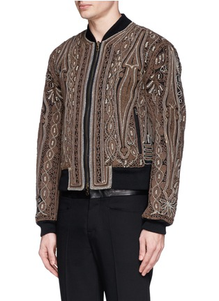 Front View - Click To Enlarge - Dries Van Noten - 'Vinny' rope embroidery cotton bomber jacket