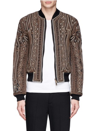 Main View - Click To Enlarge - Dries Van Noten - 'Vinny' rope embroidery cotton bomber jacket