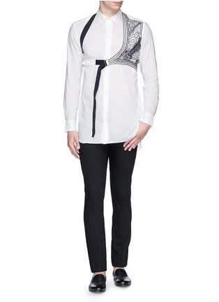 Figure View - Click To Enlarge - Dries Van Noten - 'Cooper' embroidery harness cotton shirt