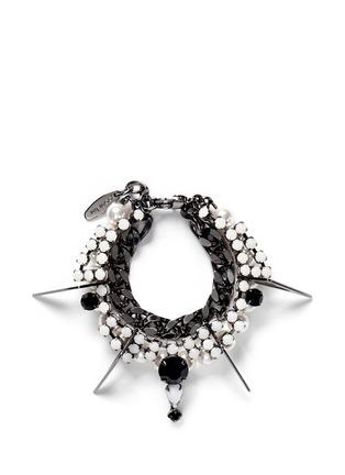 Main View - Click To Enlarge - Joomi Lim - 'Vertigo' pearl crystal metal fretwork charm bracelet