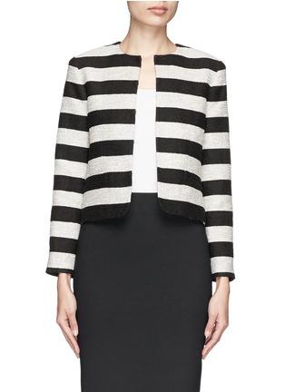 Main View - Click To Enlarge - alice + olivia - 'Kidman' metallic stripe box jacket