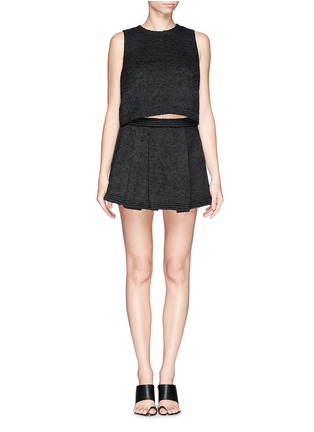 Figure View - Click To Enlarge - Proenza Schouler - Bouclé tweed pleat flare skirt
