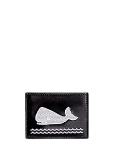 Thom BrowneWhale embroidered leather card holder