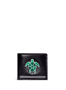 Thom Browne Turtle embroidered leather bifold wallet
